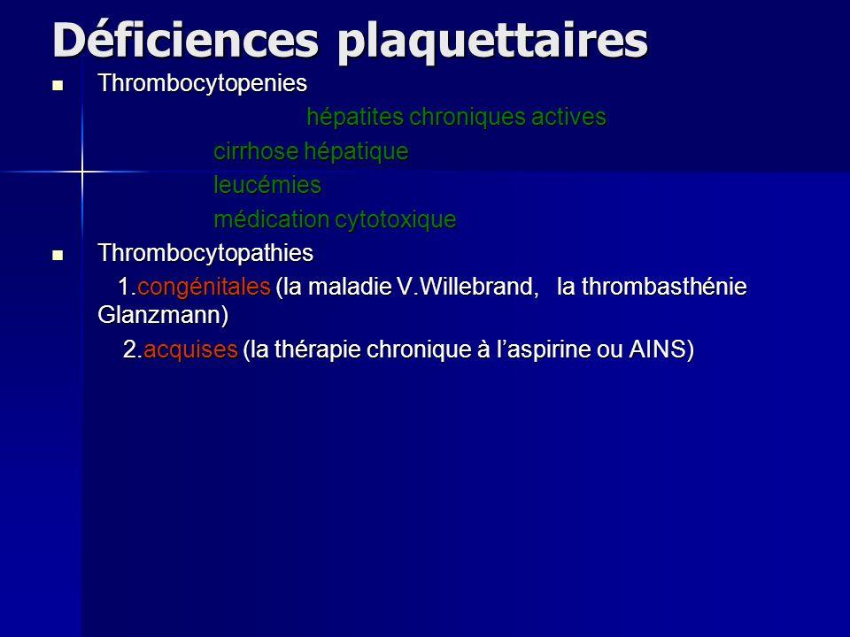 Déficiences plaquettaires