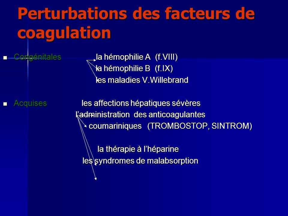 Perturbations des facteurs de coagulation