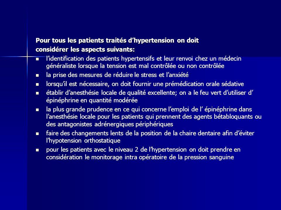 Pour tous les patients traités d'hypertension on doit