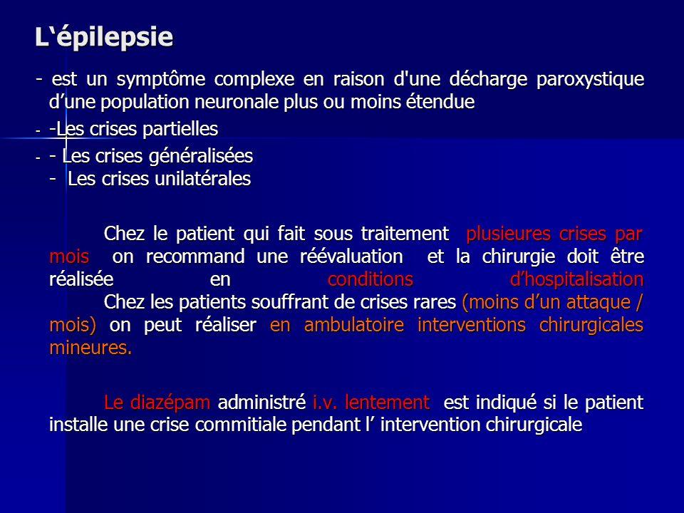 L'épilepsie - est un symptôme complexe en raison d une décharge paroxystique d'une population neuronale plus ou moins étendue.