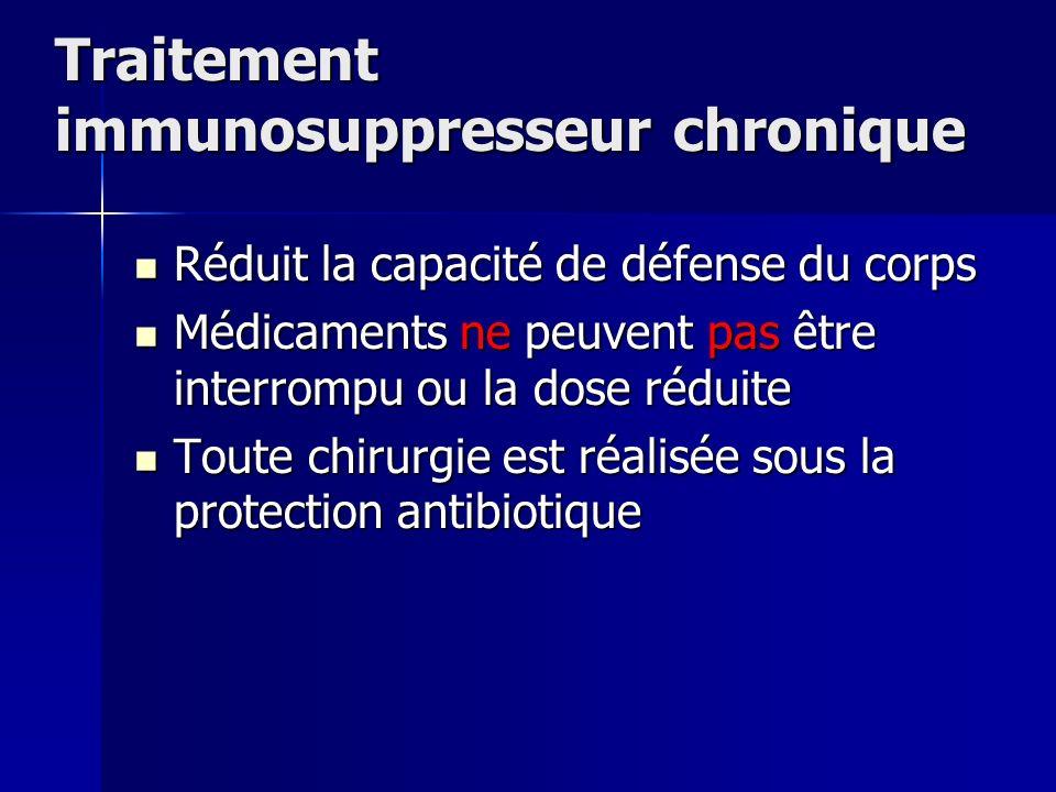 Traitement immunosuppresseur chronique