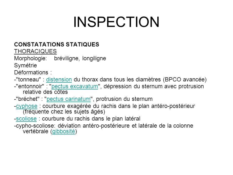 INSPECTION CONSTATATIONS STATIQUES THORACIQUES