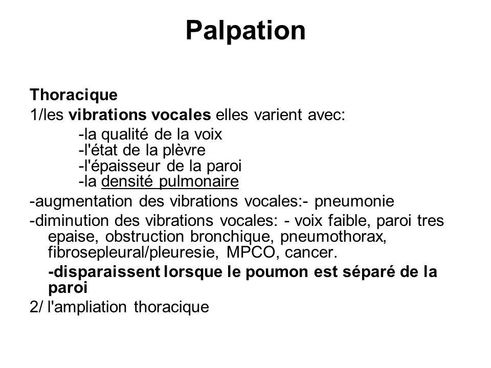 Palpation Thoracique 1/les vibrations vocales elles varient avec: