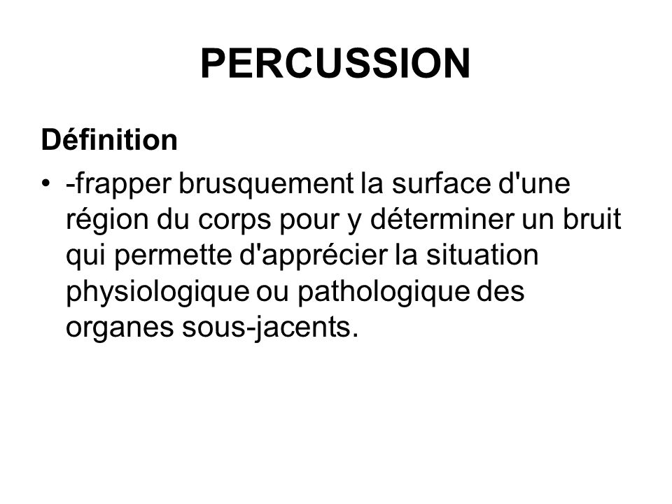 PERCUSSION Définition