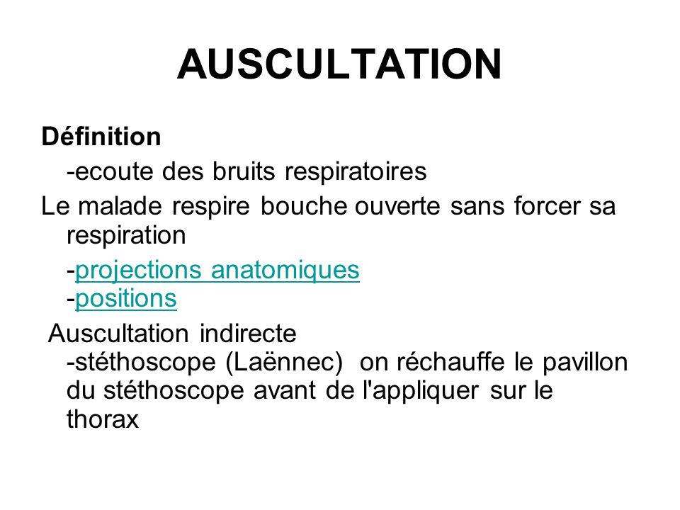 AUSCULTATION Définition -ecoute des bruits respiratoires