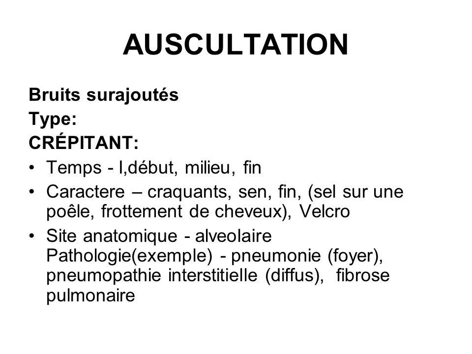 AUSCULTATION Bruits surajoutés Type: CRÉPITANT:
