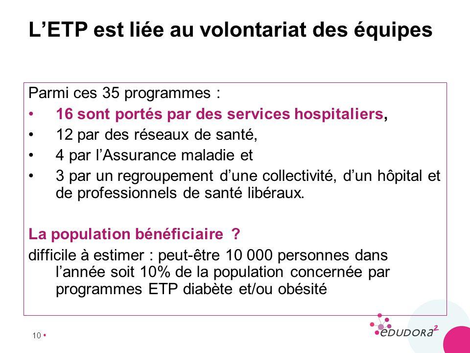 L'ETP est liée au volontariat des équipes