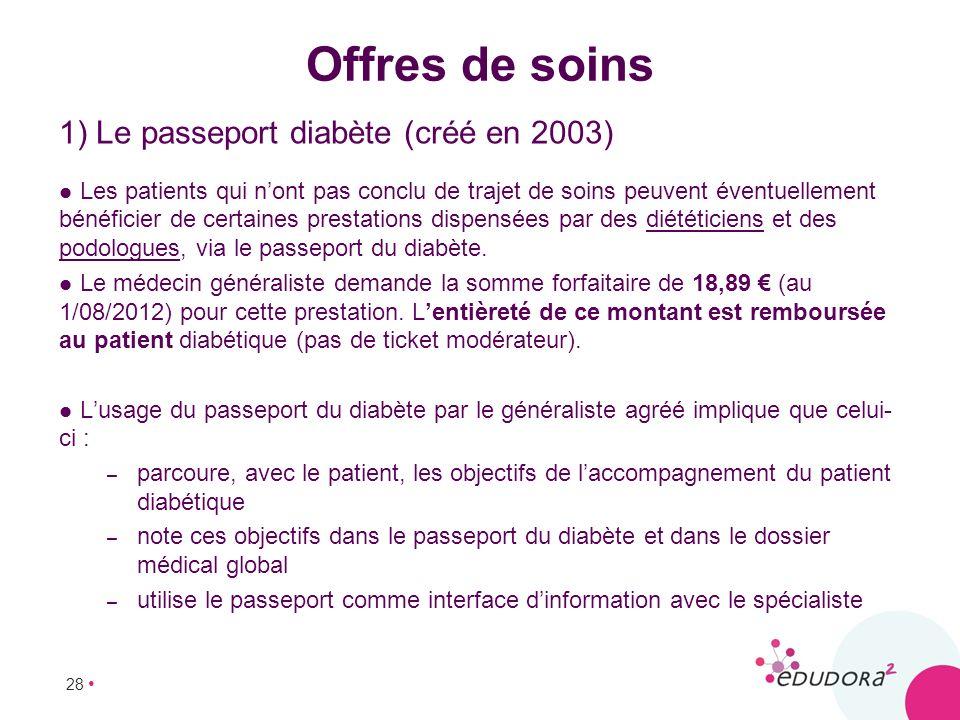 Offres de soins 1) Le passeport diabète (créé en 2003)