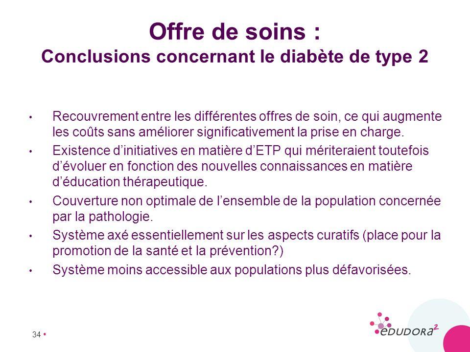 Offre de soins : Conclusions concernant le diabète de type 2