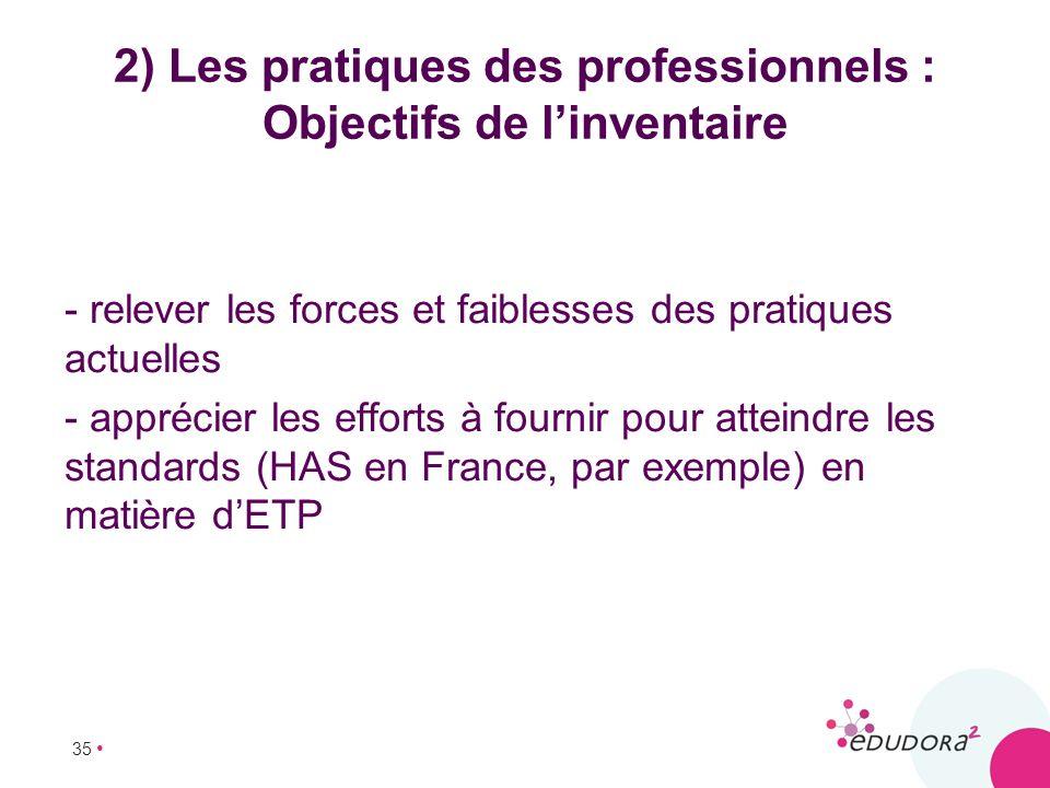 2) Les pratiques des professionnels : Objectifs de l'inventaire