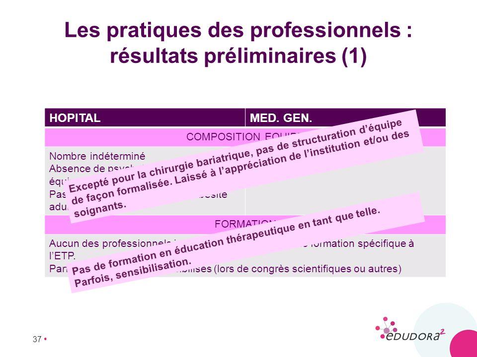 Les pratiques des professionnels : résultats préliminaires (1)