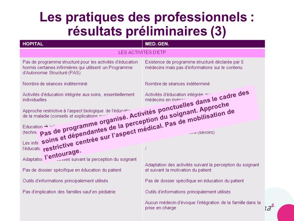 Les pratiques des professionnels : résultats préliminaires (3)