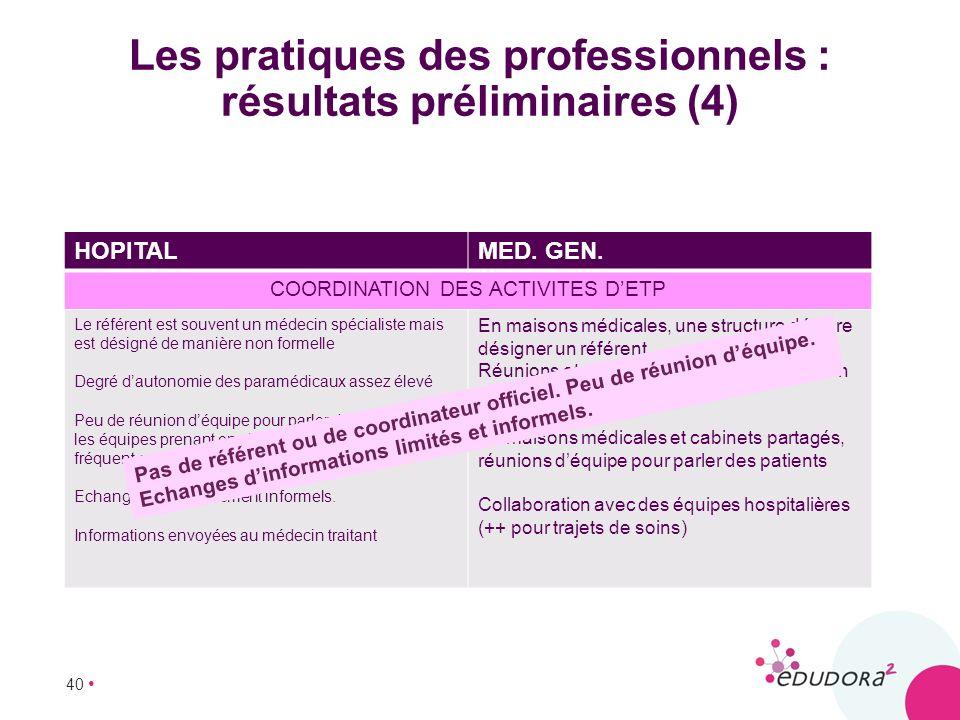 Les pratiques des professionnels : résultats préliminaires (4)