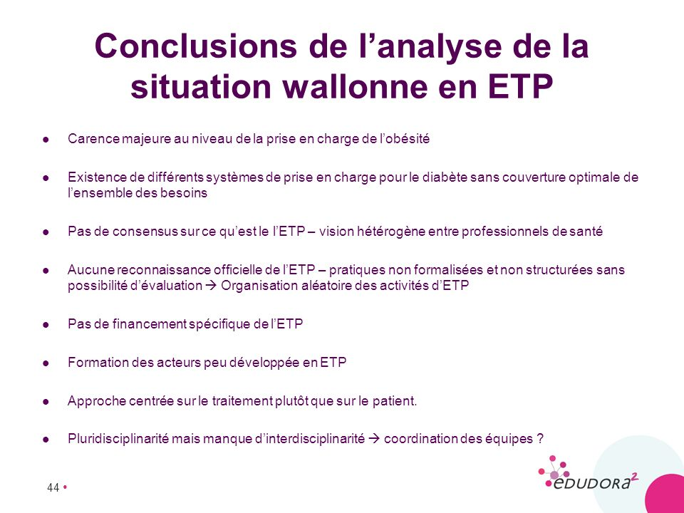 Conclusions de l'analyse de la situation wallonne en ETP