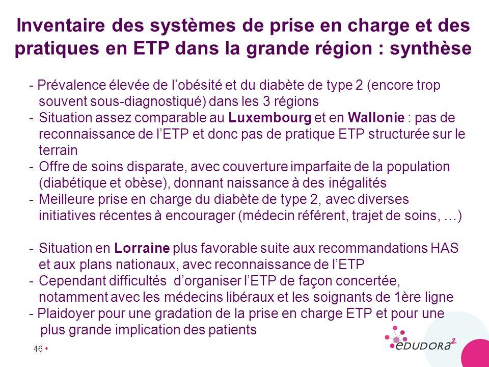 Inventaire des systèmes de prise en charge et des pratiques en ETP dans la grande région : synthèse
