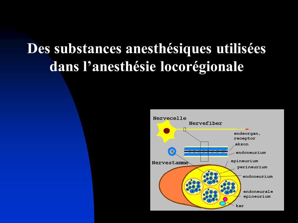 Des substances anesthésiques utilisées dans l'anesthésie locorégionale