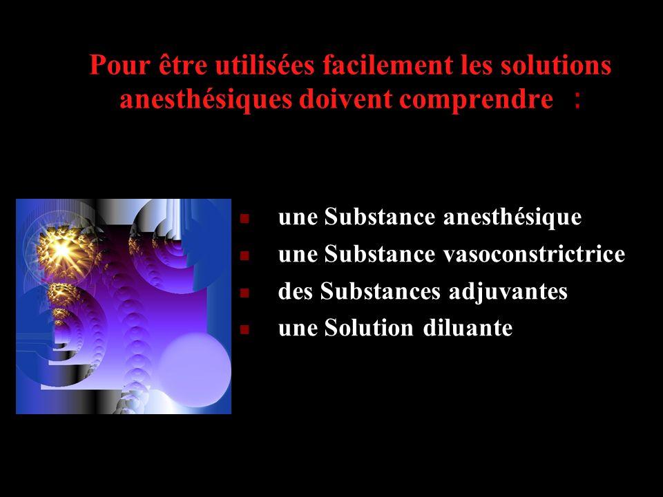 Pour être utilisées facilement les solutions anesthésiques doivent comprendre :