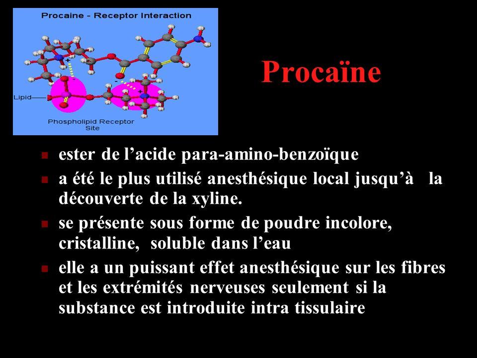Procaïne ester de l'acide para-amino-benzoïque