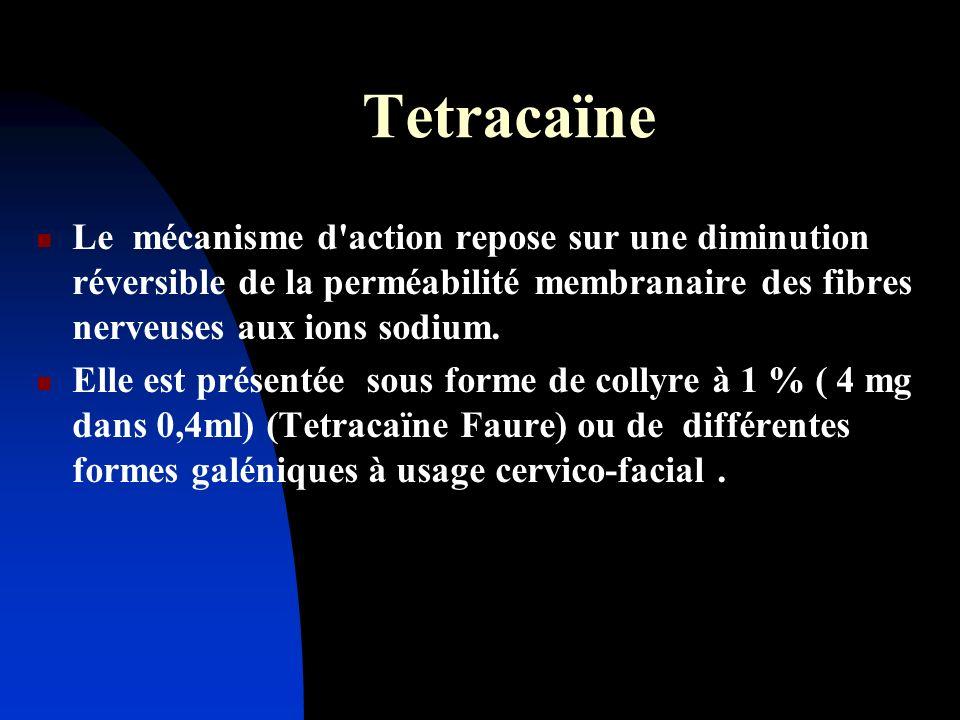 Tetracaïne Le mécanisme d action repose sur une diminution réversible de la perméabilité membranaire des fibres nerveuses aux ions sodium.