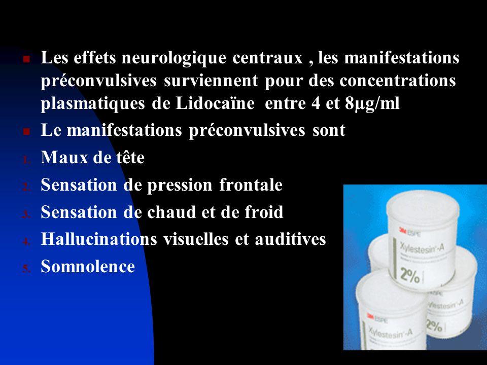 Les effets neurologique centraux , les manifestations préconvulsives surviennent pour des concentrations plasmatiques de Lidocaïne entre 4 et 8µg/ml