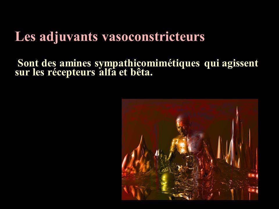 Les adjuvants vasoconstricteurs Sont des amines sympathicomimétiques qui agissent sur les récepteurs alfa et bêta.