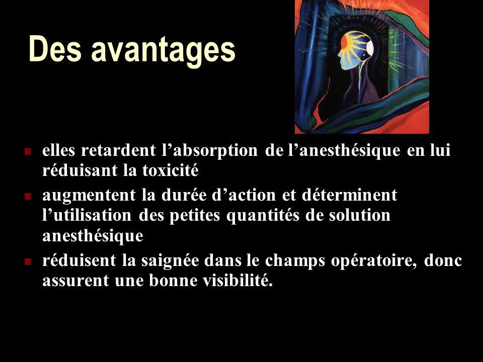 Des avantages elles retardent l'absorption de l'anesthésique en lui réduisant la toxicité.