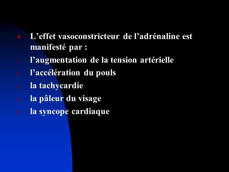L'effet vasoconstricteur de l'adrénaline est manifesté par :