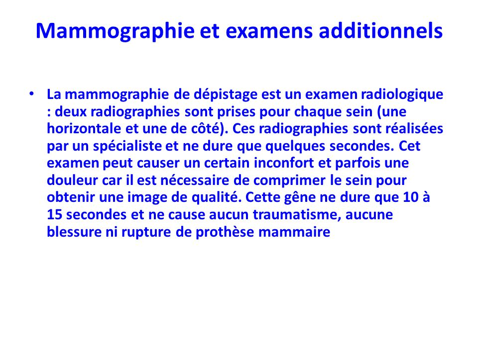 Mammographie et examens additionnels