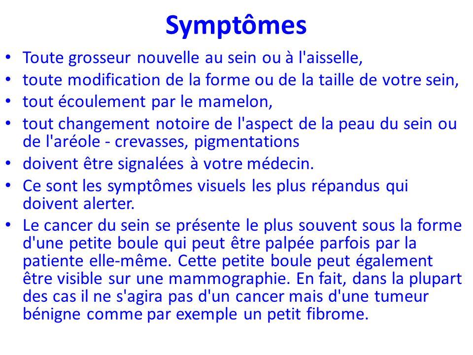 Symptômes Toute grosseur nouvelle au sein ou à l aisselle,