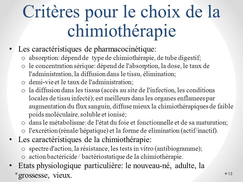 Critères pour le choix de la chimiothérapie