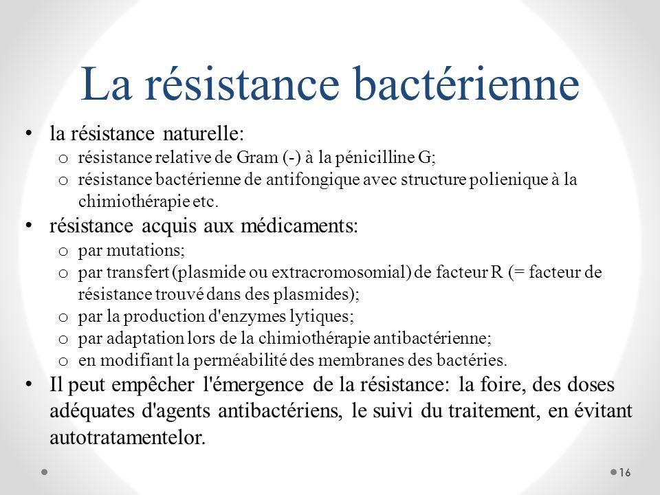 La résistance bactérienne