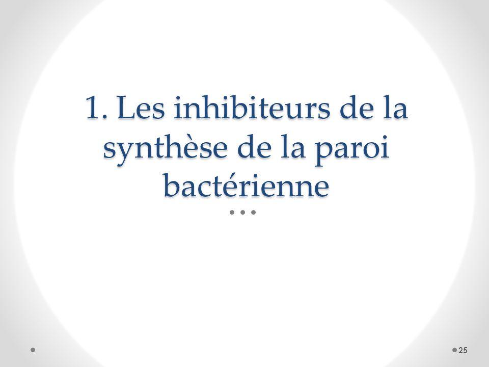1. Les inhibiteurs de la synthèse de la paroi bactérienne