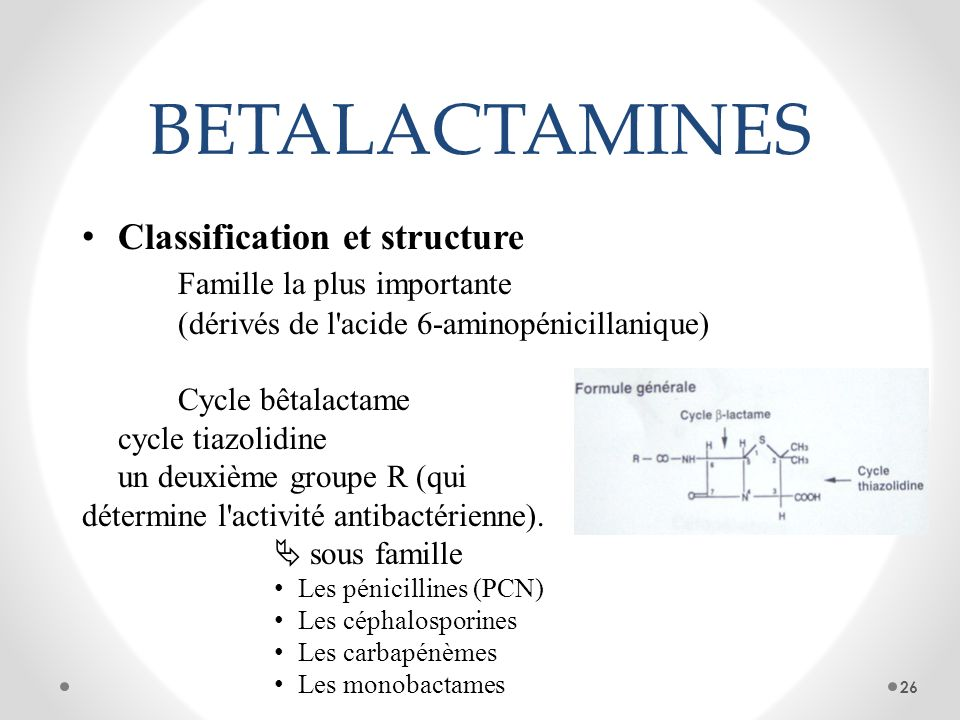 BETALACTAMINESClassification et structure Famille la plus importante (dérivés de l acide 6-aminopénicillanique)
