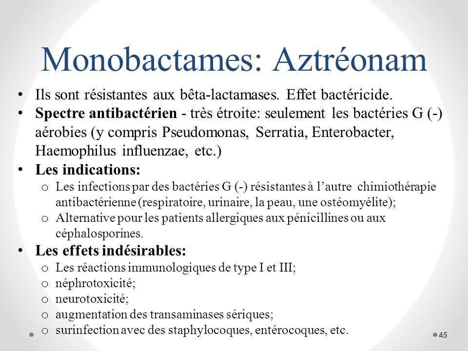 Monobactames: Aztréonam