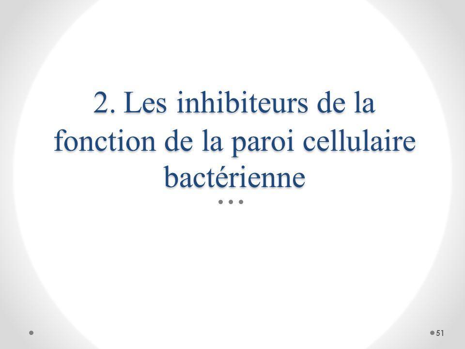 2. Les inhibiteurs de la fonction de la paroi cellulaire bactérienne