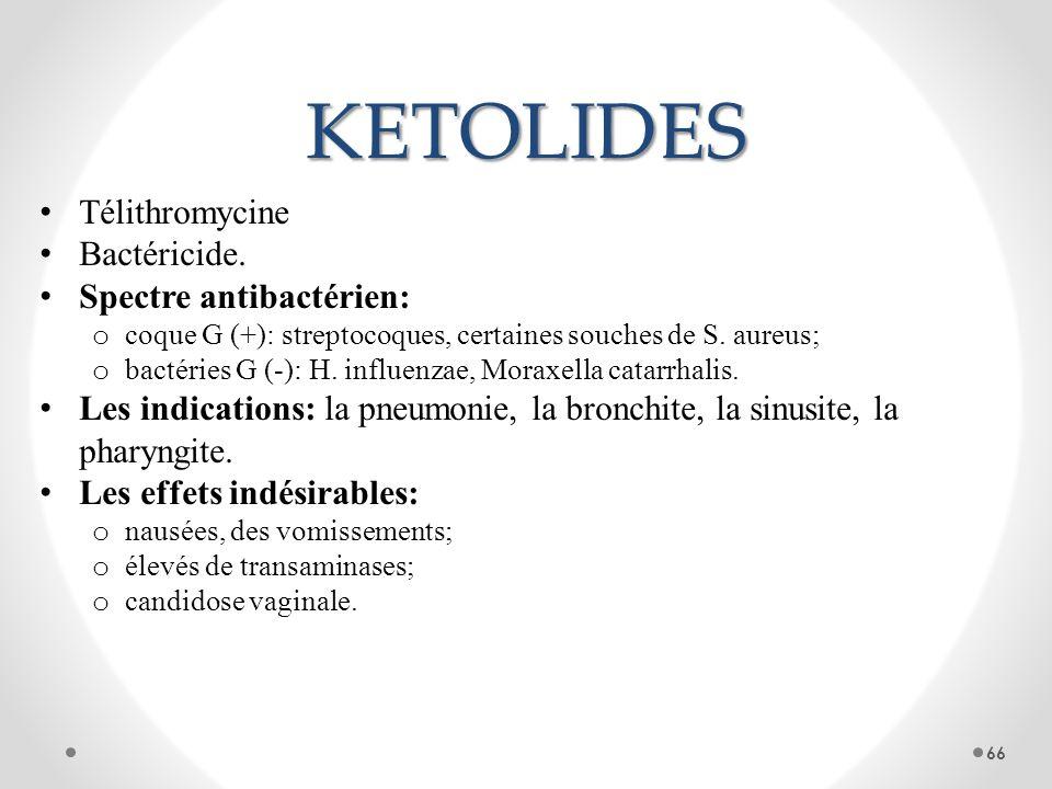 KETOLIDES Télithromycine Bactéricide. Spectre antibactérien: