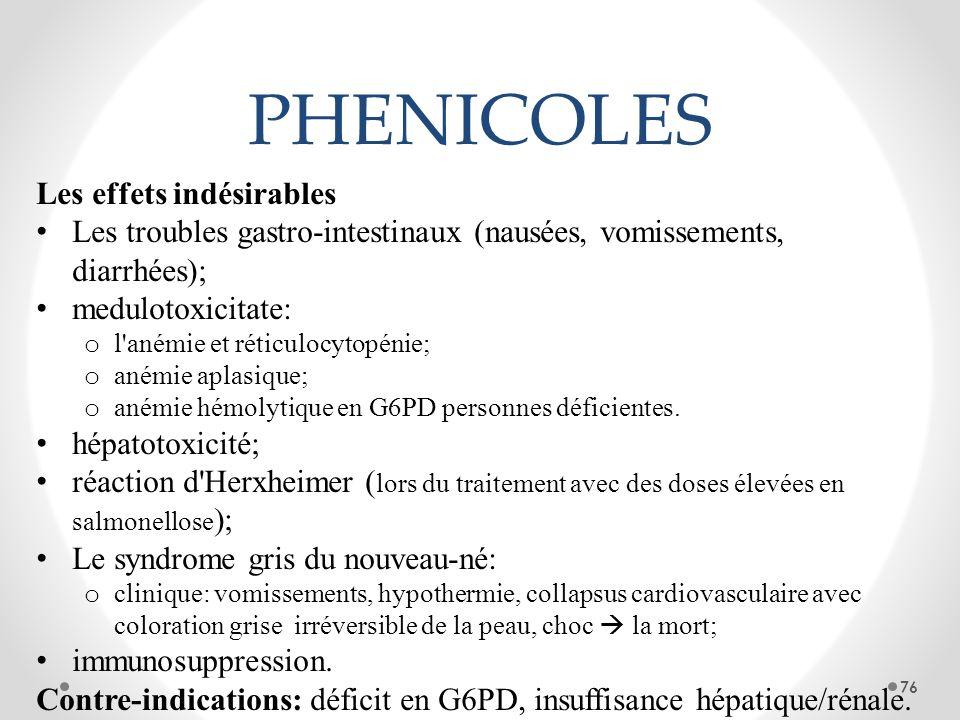 PHENICOLES Les effets indésirables