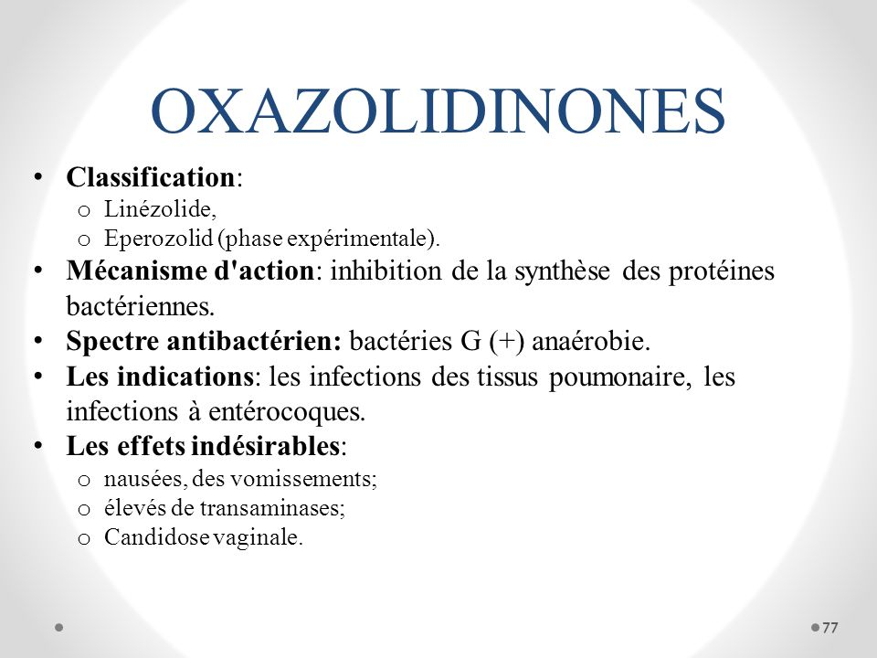 OXAZOLIDINONES Classification: