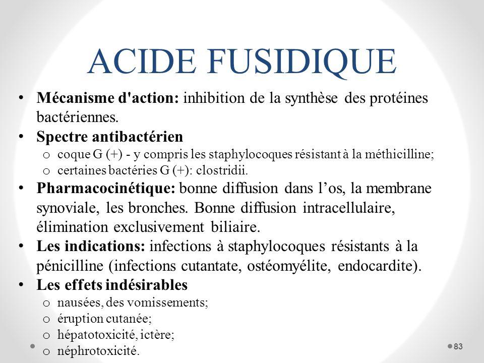 ACIDE FUSIDIQUE Mécanisme d action: inhibition de la synthèse des protéines bactériennes. Spectre antibactérien.