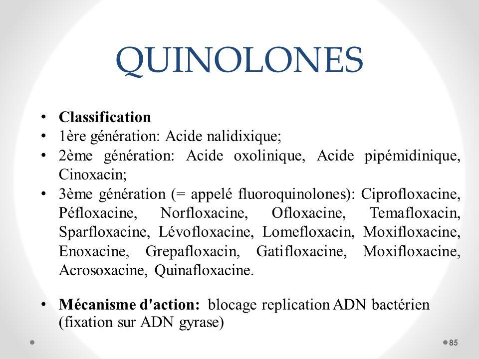QUINOLONES Classification 1ère génération: Acide nalidixique;