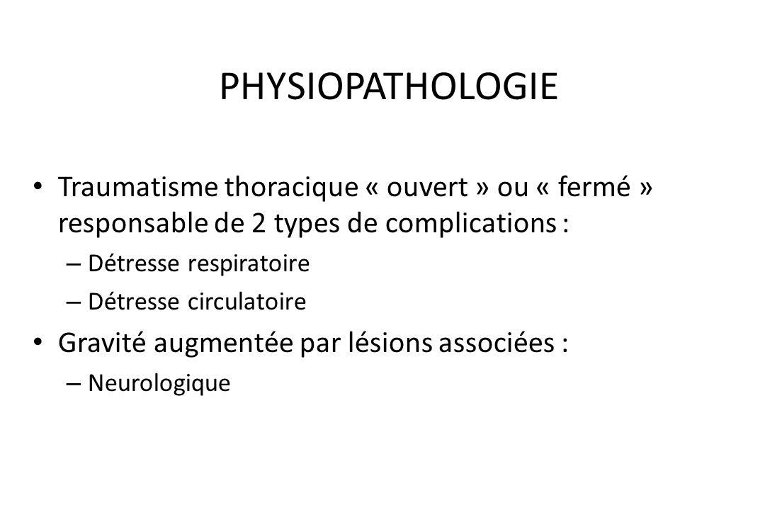 PHYSIOPATHOLOGIETraumatisme thoracique « ouvert » ou « fermé » responsable de 2 types de complications :