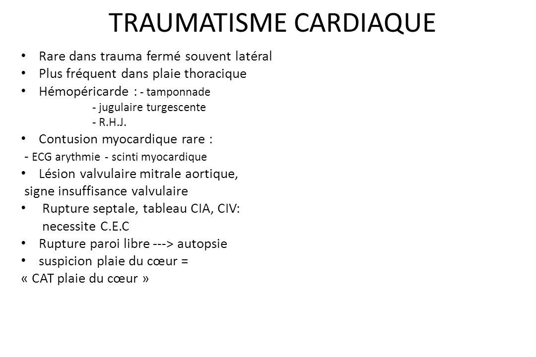 TRAUMATISME CARDIAQUE