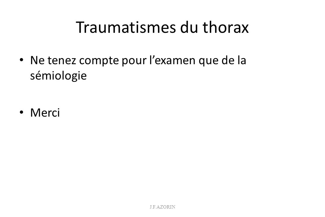 Traumatismes du thorax