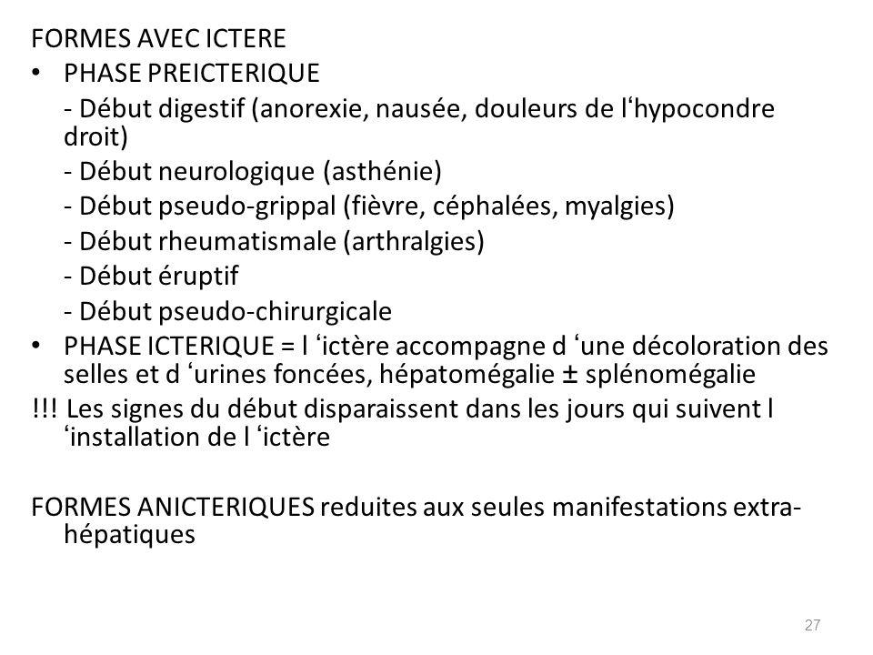 FORMES AVEC ICTERE PHASE PREICTERIQUE. - Début digestif (anorexie, nausée, douleurs de l'hypocondre droit)