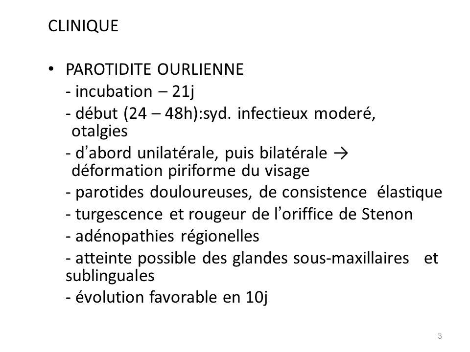CLINIQUE PAROTIDITE OURLIENNE. - incubation – 21j. - début (24 – 48h):syd. infectieux moderé, otalgies.