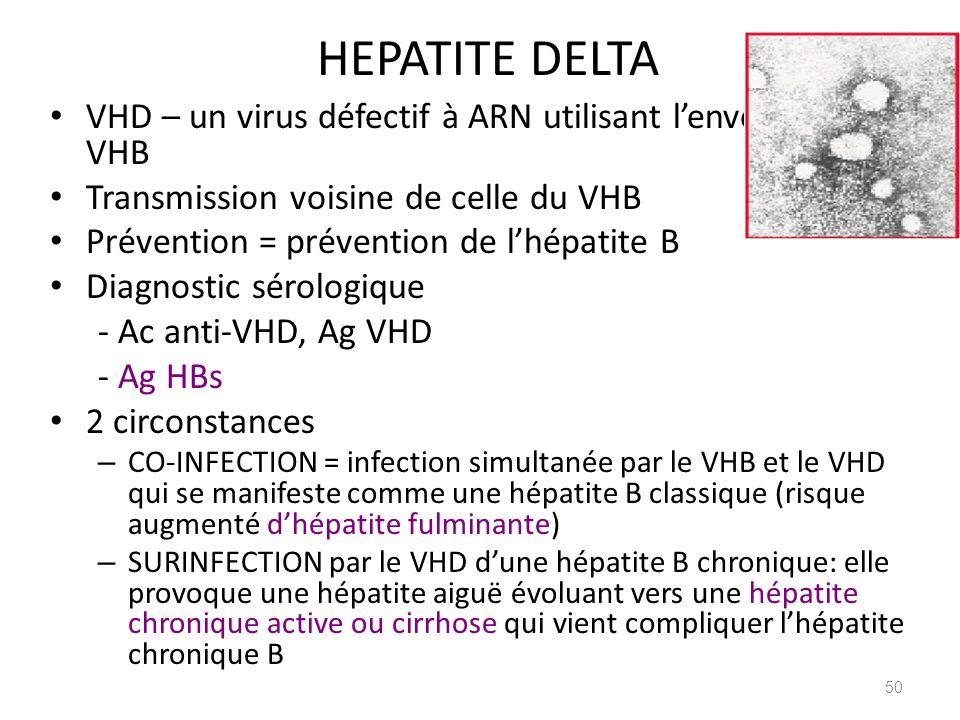 HEPATITE DELTA VHD – un virus défectif à ARN utilisant l'enveloppe du VHB. Transmission voisine de celle du VHB.