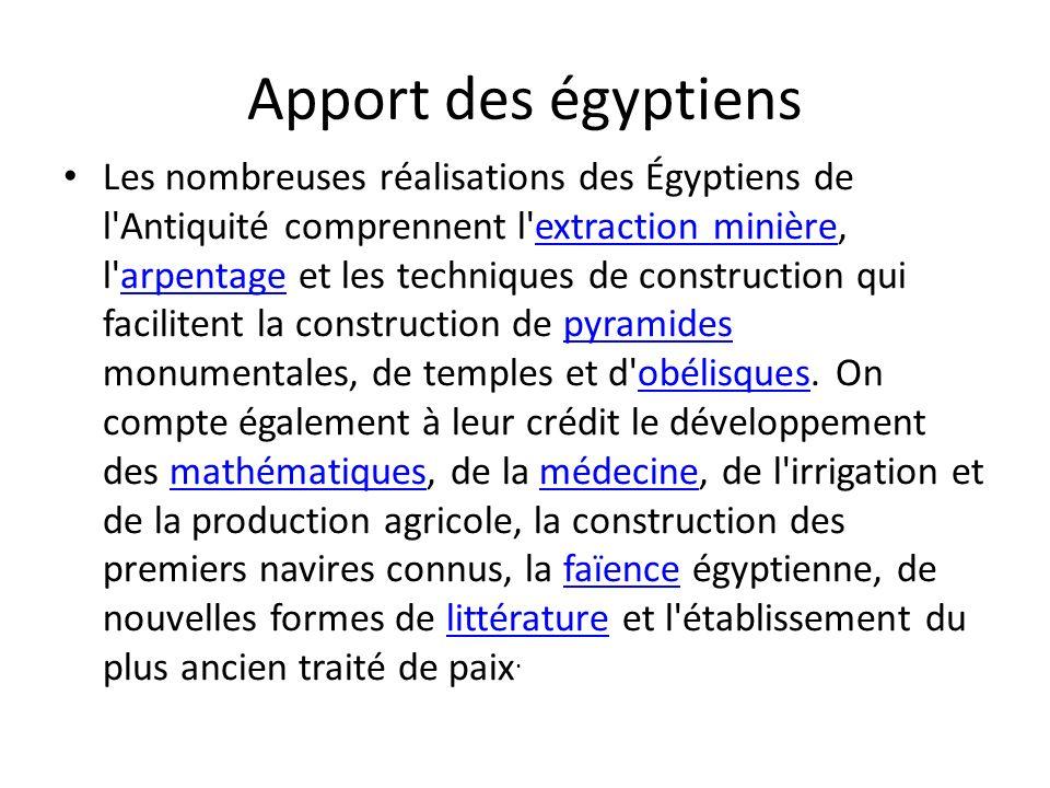 Apport des égyptiens