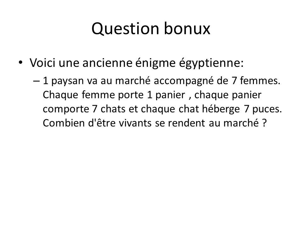 Question bonux Voici une ancienne énigme égyptienne: