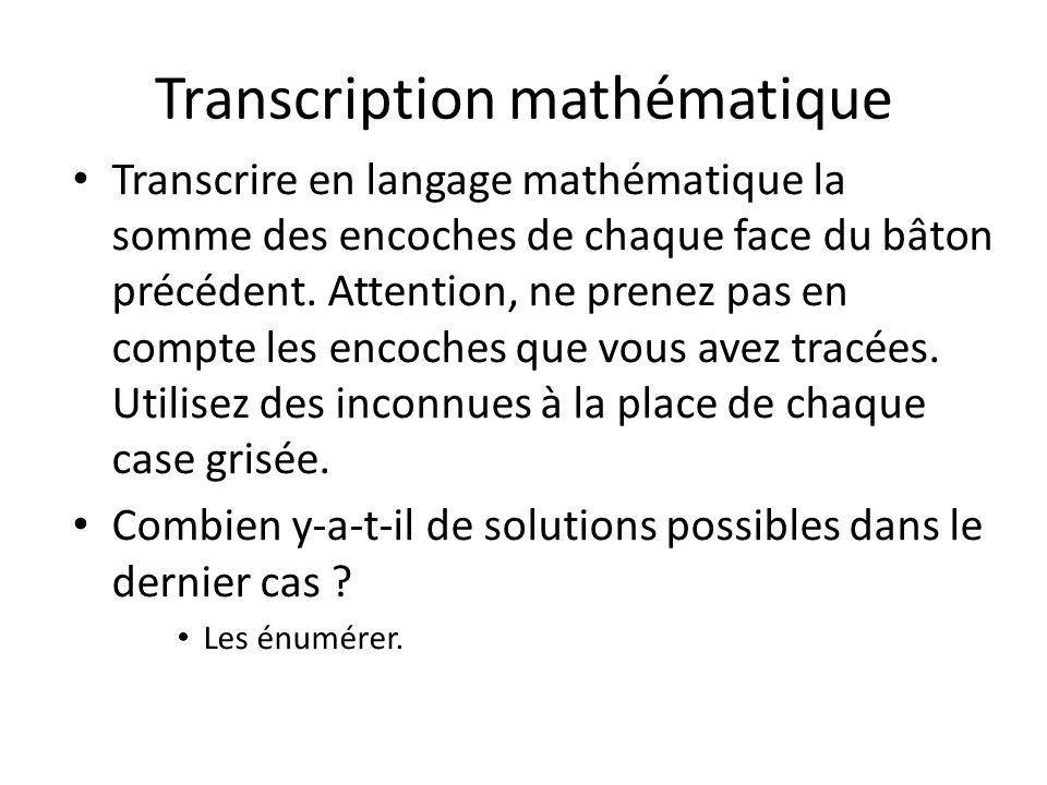 Transcription mathématique