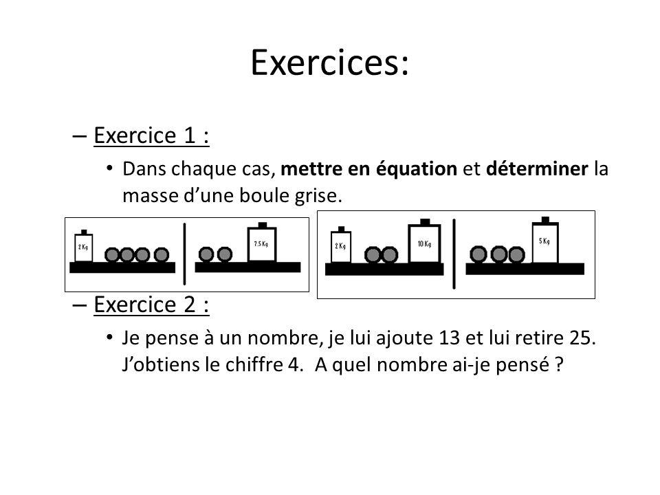 Exercices: Exercice 1 : Exercice 2 :